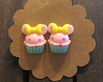 Pink Cupcake Earrings, Cupcake Stud Earrings, Childrens Cupcake Earrings, Nickel Free Earrings