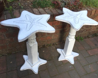 Starfish Sand Dollar Side ONE Table Night Table Shabby Chic Beach House Style by CastawaysHall