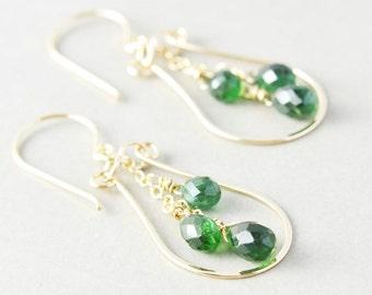 Apatite Dangle Earrrings, Gemstone Hoop Earrings, Dark Green Drop Earrings