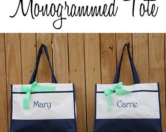 5 Monogrammed Tote Bag Monogrammed Tote, Bridesmaid Tote, Personalized Tote Wedding