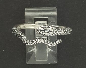 Adjustable Coiled Snake Ring in Sterling Silver
