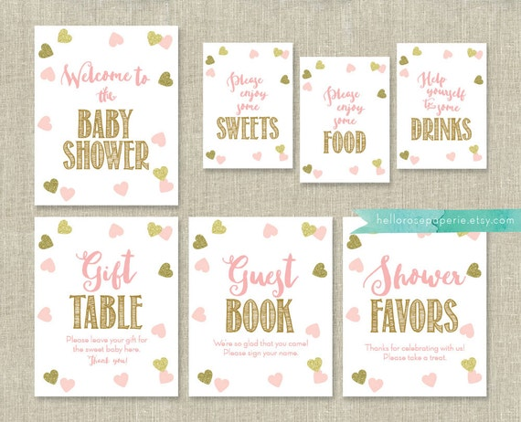 Pink And Gold Baby Shower Signs Package Bundle 7 Table Signs