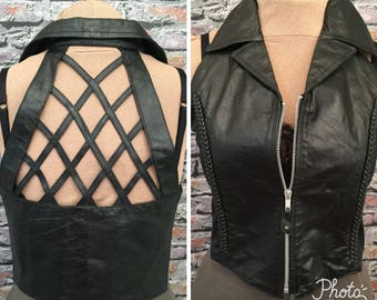 Vintage Leather Cutwork Vest  Steampunk Gothic   Size Medium/Large