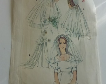 Vintage Simplicity Pattern 9826 Set of Bridal Headpieces with Veils Uncuts