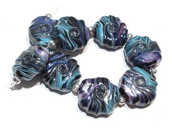 Handmade Glass  Lampwork Beads Purple Rose Raku Twist Tabs