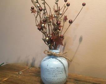 Bocal en rustique Antique pomme bleue clair, bocal en détresse Martinelli, issus de Vase en verre, peint pot, Cottage Shabby Chic, décor de ferme