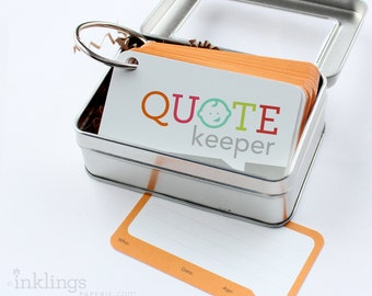 Quote Keeper Ring with Cards // Poppy Orange // Quote journal, baby sprinkle gift, baby shower, baby book, baby album, new mom gift ideas