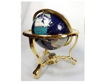 "Gemstone Globe, Gold-Plated Three Leg Base, 9"" Globe & Compass, Precious Stone Map, Vintage 80's, Precious Metal Accents"