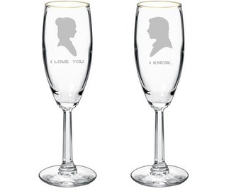 Star Wars Princess Leia & Han Solo Wedding Champagne Toasting Glasses Flutes Wine Glasses
