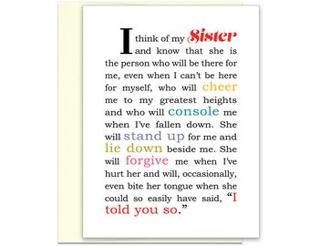 To My Sister Card - Big Sister - Best Sister Card - Sister Birthday Gift - Big Sister Card - Sister Best Friend - Sister Birthday Card