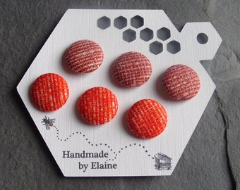 Fabric Covered Buttons - 6 x 19mm Buttons, Handmade Button, Salmon Coral Orange Blackcurrant Wine Red Basketweave Woven Pattern Buttons 2509