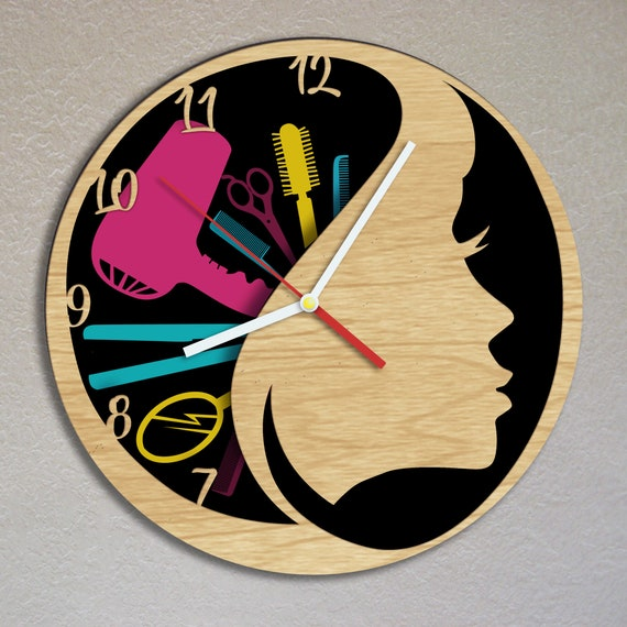 Unique gift for women Hairdresser clock Hair salon art