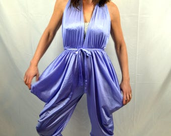 Vintage WOW Purple Halter Nylon Harem Romper Pantsuit Lingerie