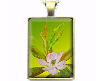 Steel Magnolia Bloom with Leaves  - Fine Art Photograph - Key Ring or Pendant