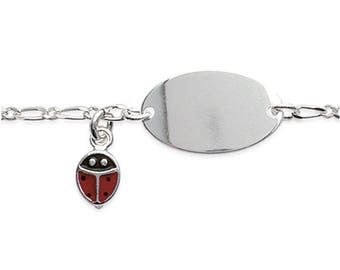 Silver curb chain Bracelet Ladybug children 16 cm with engraved name 61888205