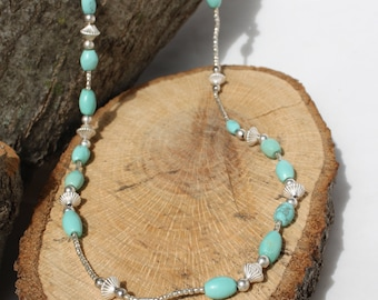 Long Turquoise and Silver Necklace