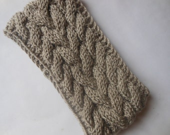 Cable Hand Knit Headband  Ear Warmer Head Warmer Beige/Gray Choose Color