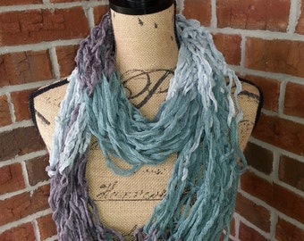 Color block Arm knitted infinity scarf, Teal and Gray scarf, silver scarf, knit scarf, lightweight cowl, all season arm knit scarf
