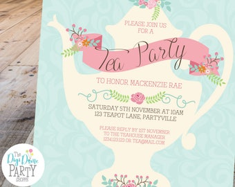 Teapot invitations etsy tea party teapot printable invitation template 5x7in pink and mint double sided instant download parties and bridal showers filmwisefo