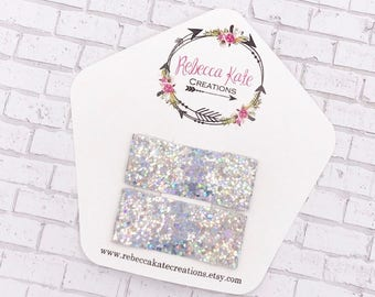 Holographic Glitter Snap Clips/Non shed glitter clips/Snap clips/Sparkly Hair Clips