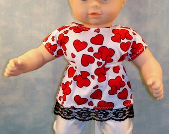 15 Inch Doll Clothes - Hearts on White Pants Set Baby made by Jane Ellen