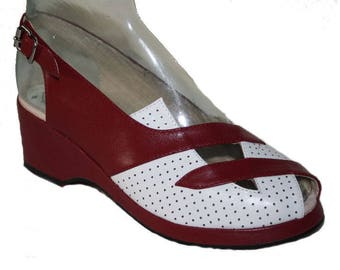 1950's style wedges by Rocket Originals, 'Trudy', red & white leather, UK size 8