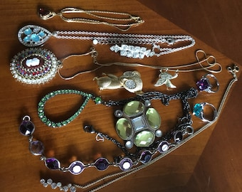 Vintage Lot of Rhinestone Jewelry Brooches Necklaces Rings
