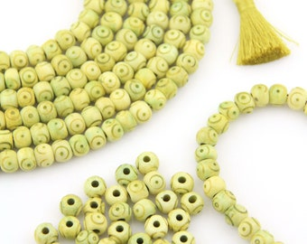 Target Bone Beads: Large Hole Yellow Green Rondelle, 8x6mm, Bohemian Tribal Jewelry Making Supplies, Boho Yoga Mala Spacers, 30+ pieces