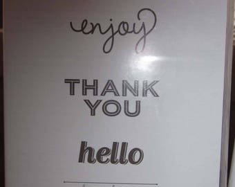 Simply Celebrate clear mount stamp set by Stampin' Up!; Enjoy, Hello and Thank You Rubber Stamps