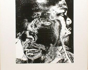 Black man strange double exposure abstract photo