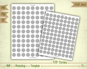 """0.75"""" Circles - Digital Collage Sheet Layered Template - (T022)"""