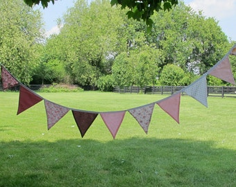 """Bunting Pennant Garland Pink Floral bunting pennants on white strand: 11' long with 24"""" ends for tying, flags"""