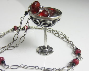 A Drink for a Feast Necklace - Sterling silver filigree goblet with fire opal, black tourmaline and ruby