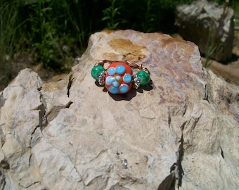 Handmade Lampwork Bead Ring, orange with blue flower