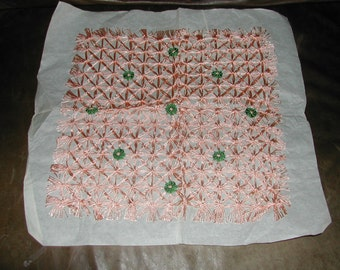 Beautiful Delicate Vintage Hand Crafted Doily Peach Green Fringed Linens Shabby Unused