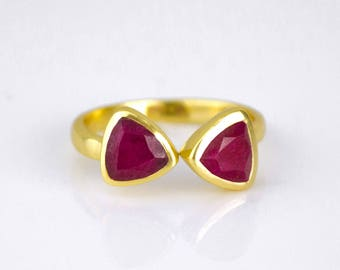 Ruby ring, July Birthstone Ring, adjustable ring, mothers ring, triangle ring, geometric ring, dual birthstone ring, DOUBLE BIRTHSTONE RING