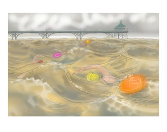 greetings card: swimming in high waves - 'Of Tides and Tow-Floats'. Clevedon Swimmers, Open Water, funny swimmers