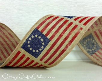 "Wired Ribbon, 2 1/2"" Red, White, Blue, Early American Flag Print, TEN YARD ROLL, ""Betsy Ross Tan"" Patriotic July 4th Prim Wire Edged Ribbon"