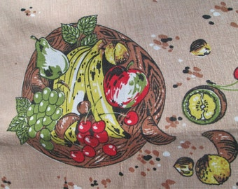 Vintage Tablecloth Table Linens Signed Lamont Coffee Pots  Fruit and Nuts Mid Century Table Cloth Kitchen Textiles Vintage Linens