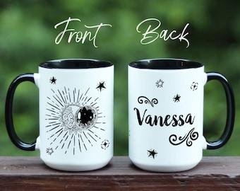 Solar Eclipse mug, Personalized Solar Eclipse Mug, Science gift, Celestial Mug, Moon and Sun Mug, Astronomy gift mug, astrology gift, Stars