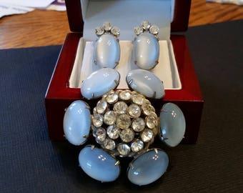 """Nat Levy """"Natalie"""" Moonglow  Rhinestone Brooch & Earrings"""