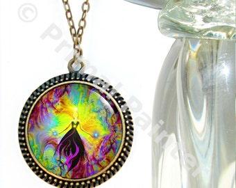 "Reiki Attuned Necklace, Chakra Jewelry, Angel Art Pendant Necklace ""Empowerment"""