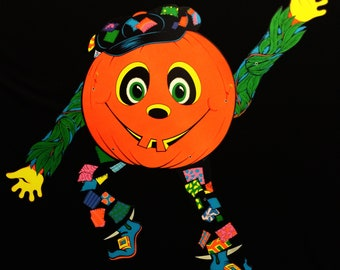 Funky Vintage Marked 1976 Articulated Beistle Jack-O-Lantern Scarecrow Halloween Deco - New (#3)