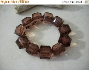 ON SALE Vintage Chunky Translucent Faceted Beads Bracelet 92616