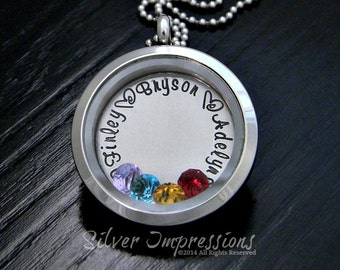 Floating Locket /  Mom Floating Locket / Grandma Necklace / Hand Stamped Jewelry