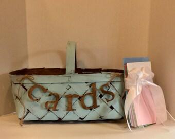 Card Box-Basket-Shabby Chic-Wedding-Rustic-Barn Wedding-Large Basket-Farm-Cards Banner