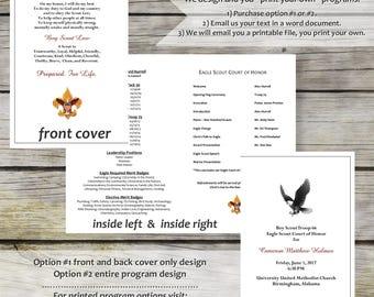 Eagle Scout Programs - Digital file - Print your own! Classic Scout design