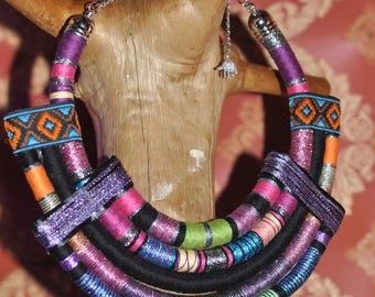 Multicolor tribal necklace, African necklace, Boho, Bohemian jewelry, Multistrand necklace, Hippie