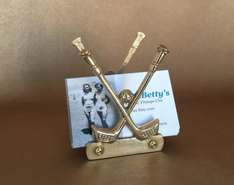 Brass Golf Stand, Letter Holder, Napkin Caddy, Vintage Golf Clubs, Business Card Stand, Golfing, Putters, Cocktail Napkin, Gift Theme Gift
