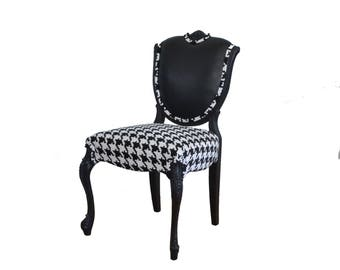 SAMPLE: French Vintage Chair Leather Houndstooth Horsehair Upholstered